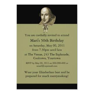 Shakespeare Caricature 13 Cm X 18 Cm Invitation Card