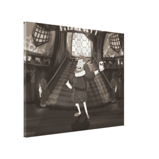 Shakespeare Cartoon Actor. Stretched Canvas Prints