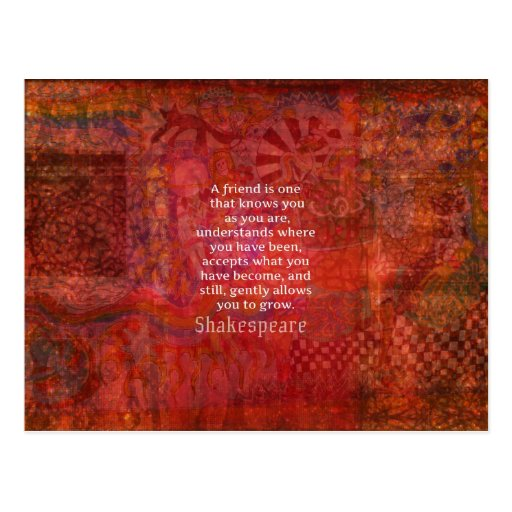 Shakespeare FRIENDSHIP Quote Post Cards