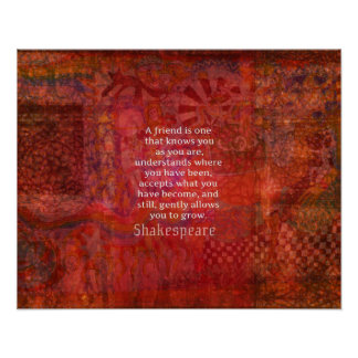 Shakespeare FRIENDSHIP Quote Poster