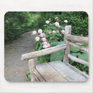 Shakespeare Garden Bench Roses Central Park NYC Mouse Mat