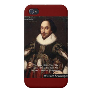 """Shakespeare """"Give Infinitely"""" Love Quote Gifts Etc iPhone 4/4S Covers"""