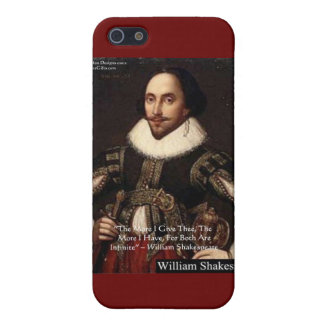 """Shakespeare """"Give Infinitely"""" Love Quote Gifts Etc iPhone 5 Covers"""