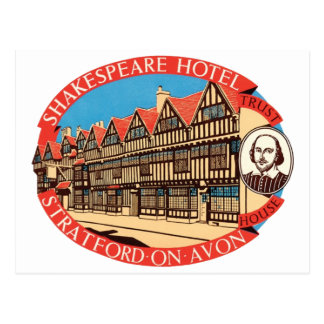 Shakespeare Hotel, Stratford on Avon Luggage Label Postcard