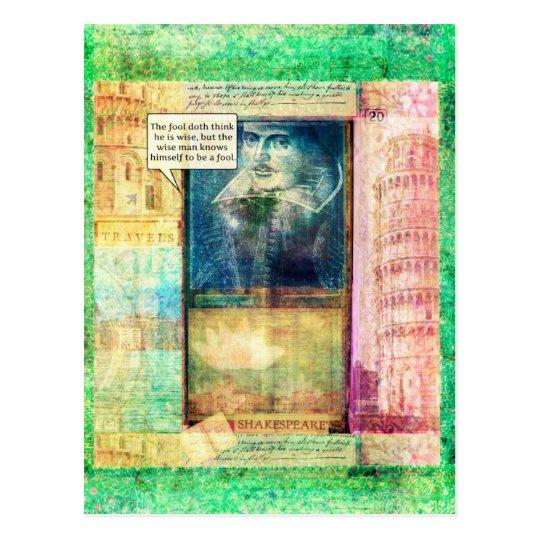 Shakespeare humourous wisdom quote postcard