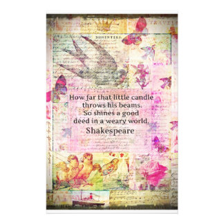 Shakespeare  inspirational quote about good deeds custom stationery