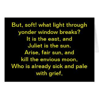 Shakespeare:  Juliet is the sun Card