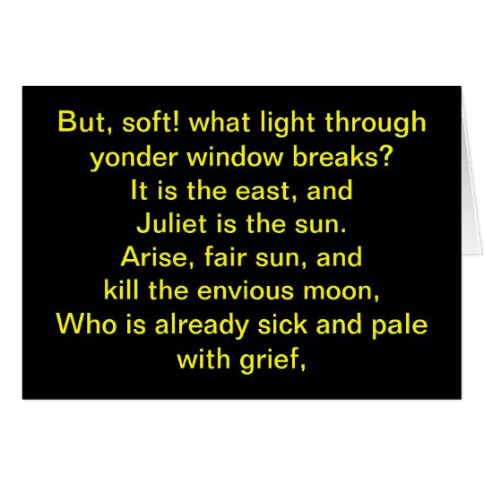 Shakespeare:  Juliet is the sun Card