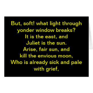 Shakespeare:  Juliet is the sun Note Card
