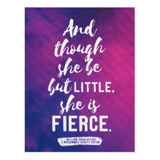 Shakespeare - Little and fierce quote postcard