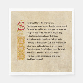 Shakespeare Macbeth Act V Scene V - Sound and Fury Paper Napkin