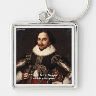 Shakespeare Past Is Prologue Quote Silver-Colored Square Key Ring