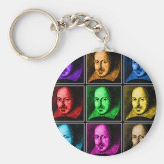 Shakespeare Pop Art Basic Round Button Key Ring