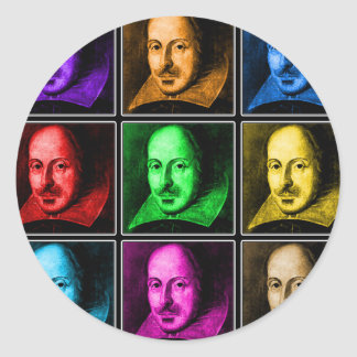 Shakespeare Pop Art Classic Round Sticker