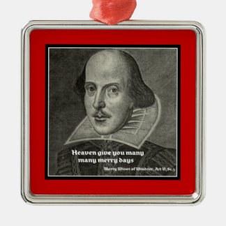 SHAKESPEARE PORTRAIT WITH QUOTE CHRISTMAS ORNAMENT
