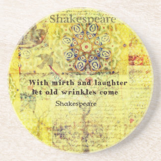 Shakespeare quote about happiness and laughter drink coaster