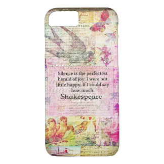 Shakespeare quote about JOY and SILENCE iPhone 7 Case