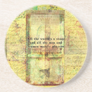 Shakespeare quote All the world's a stage ART Drink Coasters