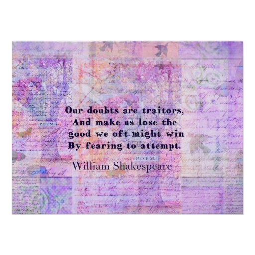 Shakespeare quote COURAGE FEAR with art print