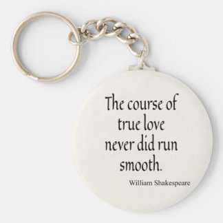 Shakespeare Quote Course of True Love Run Smooth Key Ring