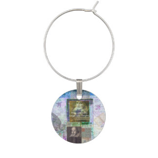 Shakespeare quote forget and forgive with art wine glass charm