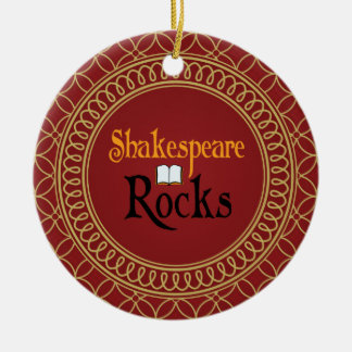 Shakespeare Rocks Red and Gold Keepsake Gift Christmas Ornament