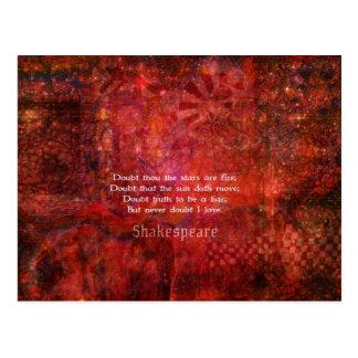 Shakespeare romantic  LOVE quotation Postcard