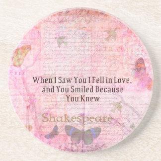 Shakespeare Romantic Love quote art typography Sandstone Coaster