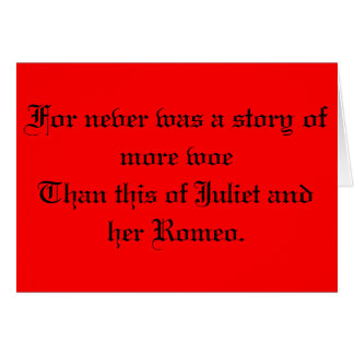 Shakespeare Romeo and Juliet Note Card