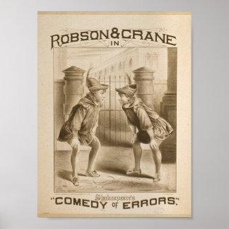 Shakespeare s Comedy of Errors Retro Theater Poster