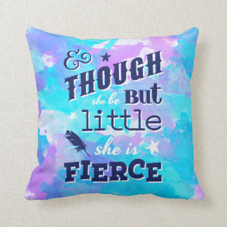 Shakespeare She is Fierce Quote Typographic Cushion