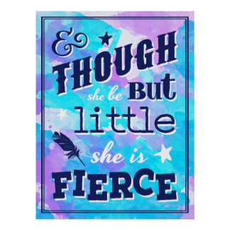 Shakespeare She is Fierce Quote Typographic Poster