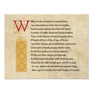 "Shakespeare Sonnet 106 (CVI) on Parchment 4.25"" X 5.5"" Invitation Card"