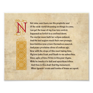Shakespeare Sonnet 107 (CVII) on Parchment Photographic Print