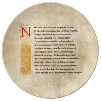 Shakespeare Sonnet 107 (CVII) on Parchment Plate