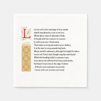 Shakespeare Sonnet 116 (CXVI) on Parchment Disposable Napkin