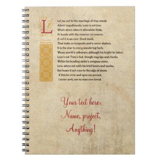 Shakespeare Sonnet 116 (CXVI) on Parchment Notebook