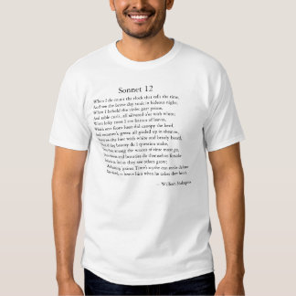 Shakespeare Sonnet 12 Tshirts