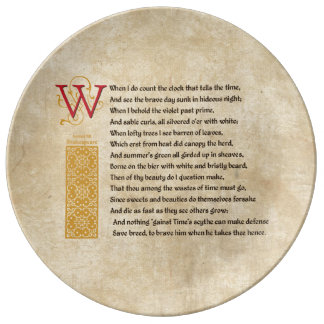 Shakespeare Sonnet 12 (XII) on Parchment Plate