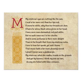Shakespeare Sonnet 130 (CXXX) on Parchment 11 Cm X 14 Cm Invitation Card
