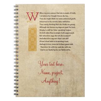 Shakespeare Sonnet 138 (CXXXVIII) on Parchment Notebook