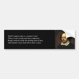 Shakespeare Sonnet # 18 Bumper Sticker