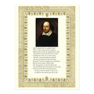 Shakespeare Sonnet # 18 Postcard