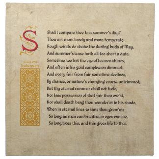 Shakespeare Sonnet 18 (XVIII) on Parchment Napkin
