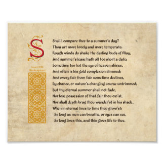 Shakespeare Sonnet 18 (XVIII) on Parchment Photograph