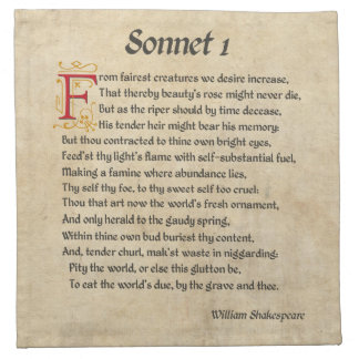 Shakespeare Sonnet 1 Parchment Napkin