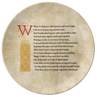 Shakespeare Sonnet 29 (XXIX) on Parchment Plate