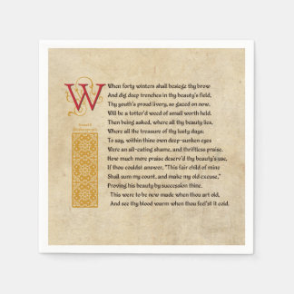 Shakespeare Sonnet 2 (II) on Parchment Paper Napkin