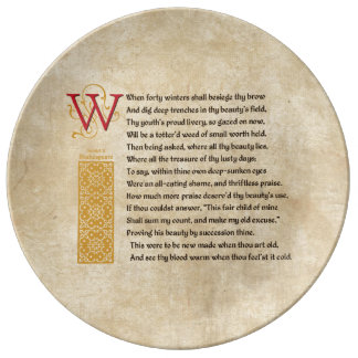 Shakespeare Sonnet 2 (II) on Parchment Plate