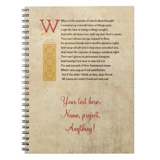 Shakespeare Sonnet 30 (XXX) on Parchment Notebook